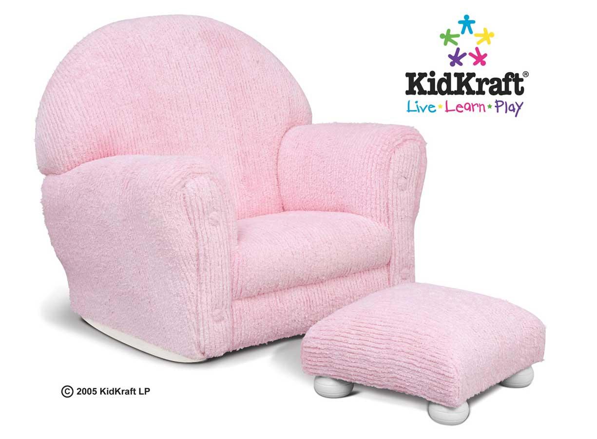 KidKraft Upholstered Rocker with Ottoman - Pink Chenille - Kidkraft