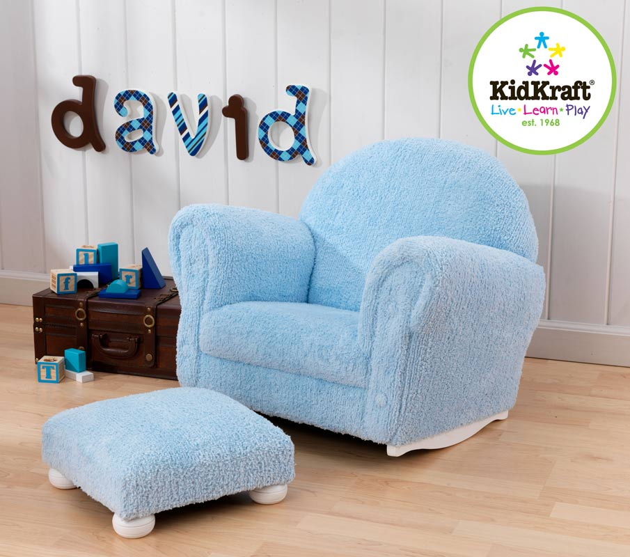 KidKraft Powder Blue Chenille Upholstered Rocker and Ottoman