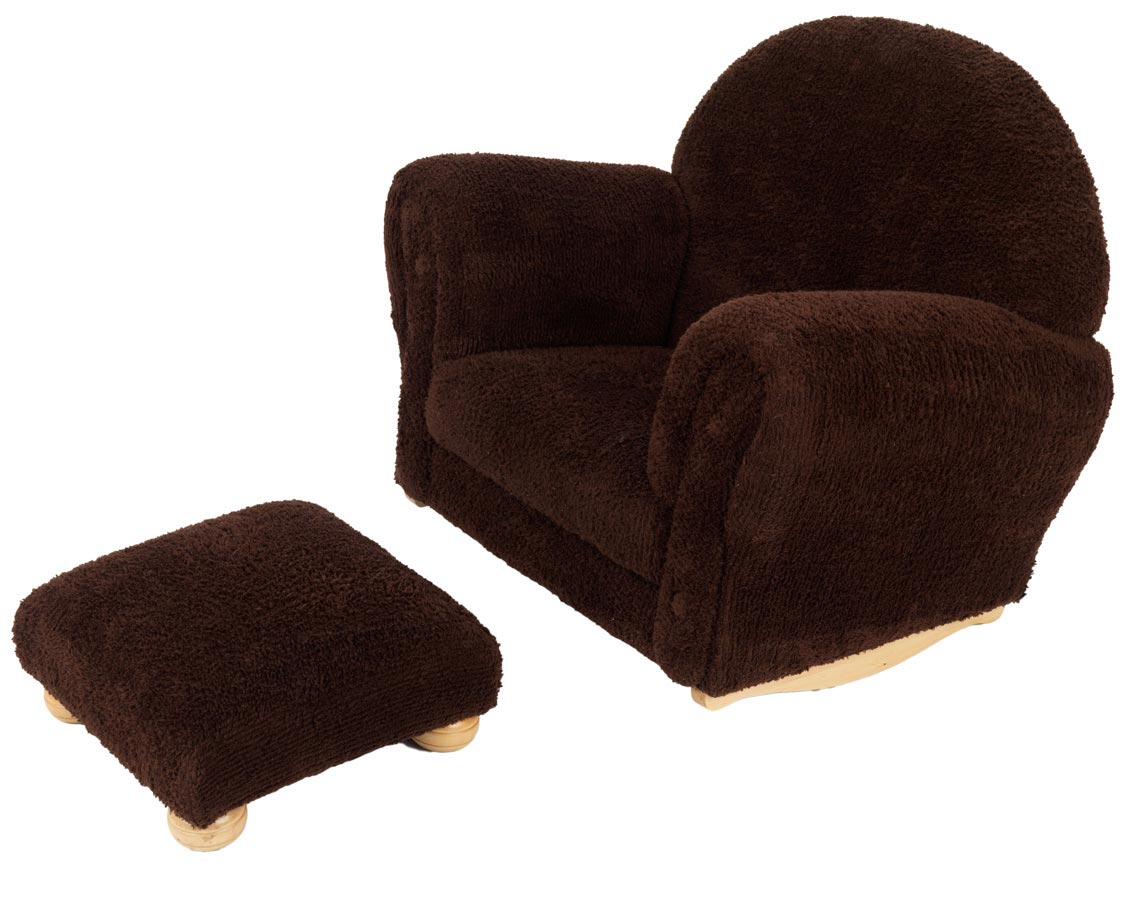 KidKraft Chocolate Chenille Upholstered Rocker and Ottoman