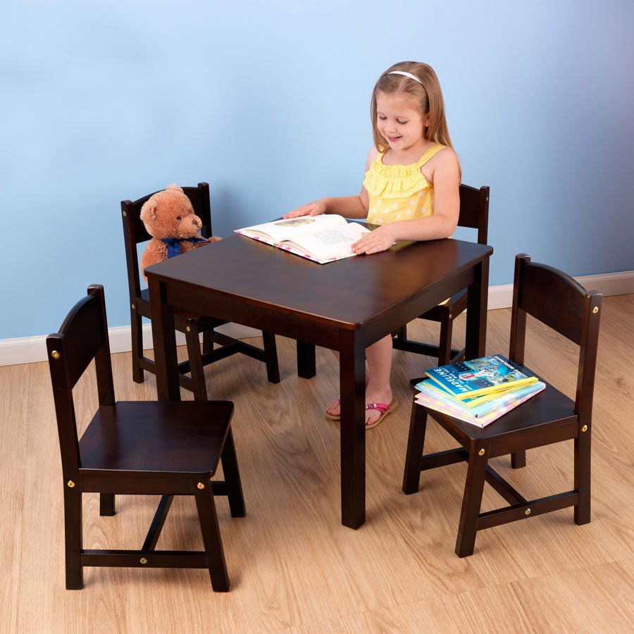 KidKraft Farmhouse Table and Four Chair Set - Espresso