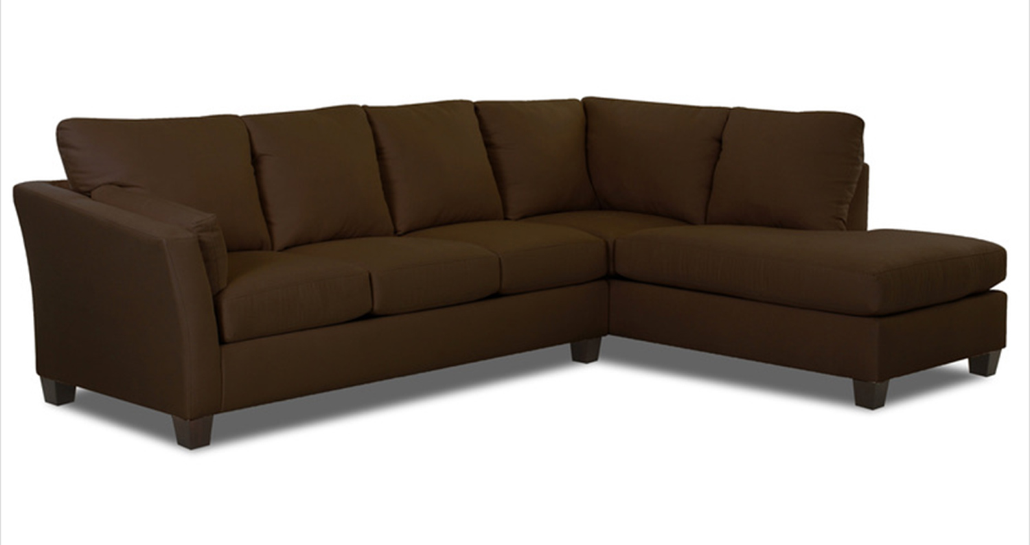 Klaussner drew sectional sofa microsuede chocolate kl for Microsuede living room furniture