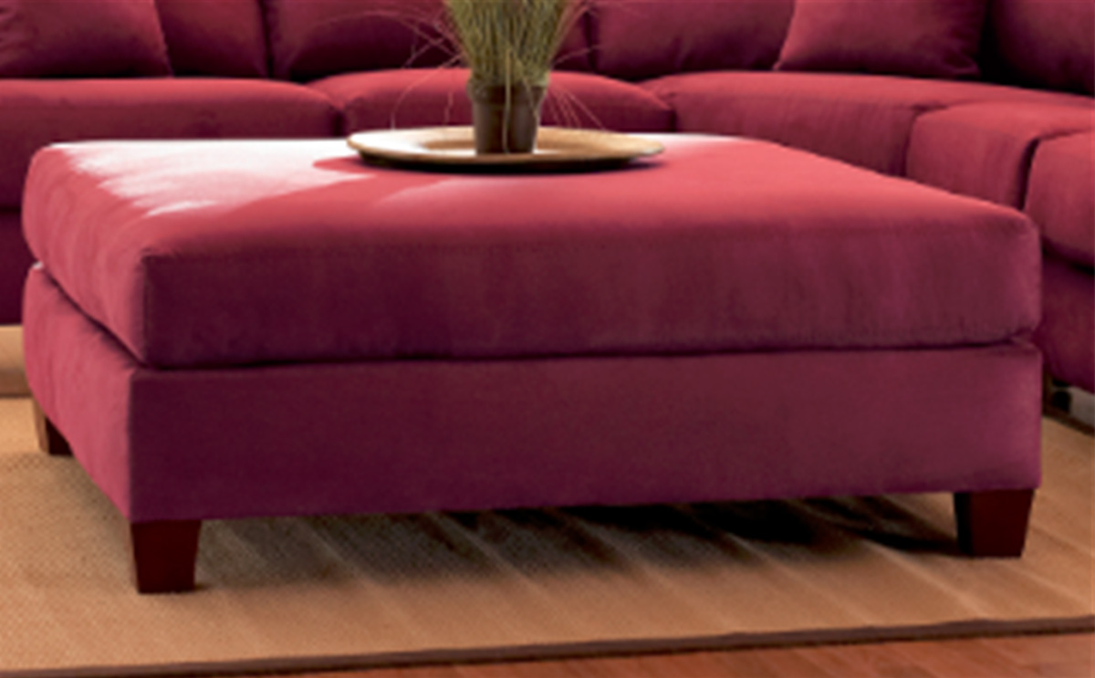 Klaussner Canyon Ottoman - Microsuede Wine