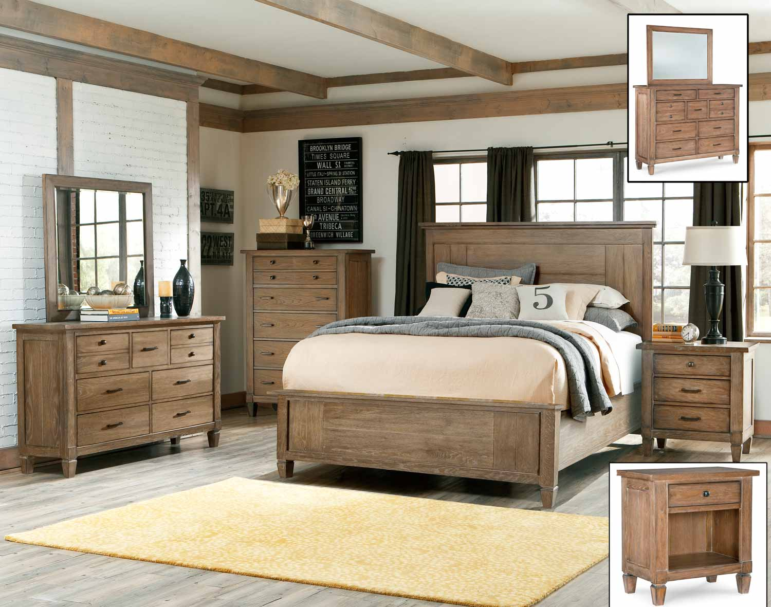 Legacy Classic Brownstone Village Panel Bedroom Set - Aged Patina