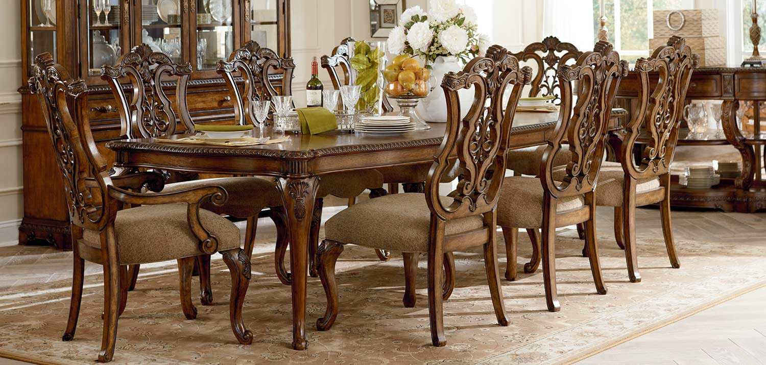 Legacy Classic Pemberleigh Leg Dining Set with Pierced Chair - Brandy/Burnished Edges