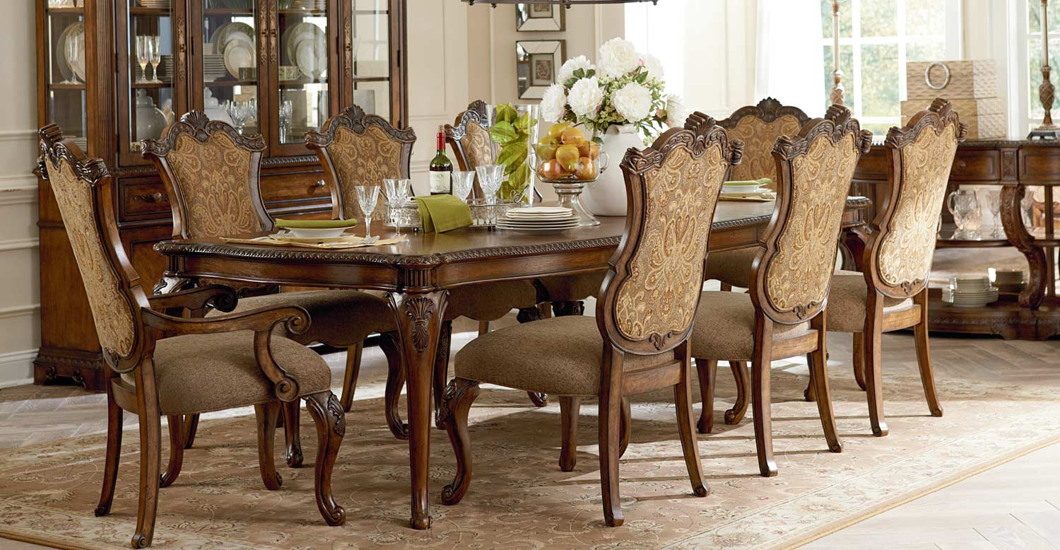 Legacy Classic Pemberleigh Leg Dining Set with Upholstered Chair - Brandy/Burnished Edges
