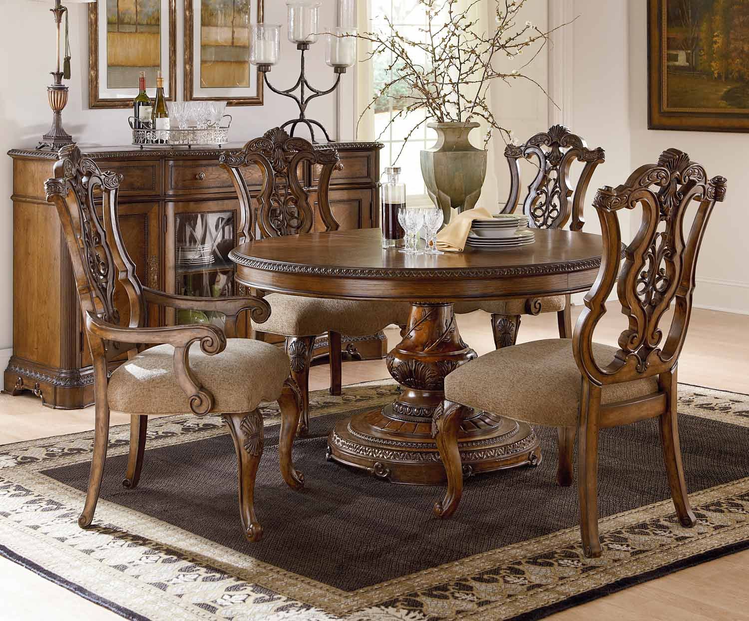 Legacy Classic Pemberleigh Round/Oval Dining Set with Pierced Chair - Brandy/Burnished Edges