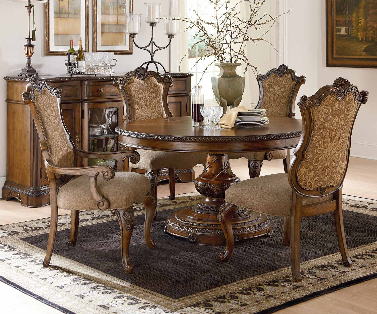 Legacy Classic Pemberleigh Round/Oval Dining Set with Upholstered Chair - Brandy/Burnished Edges
