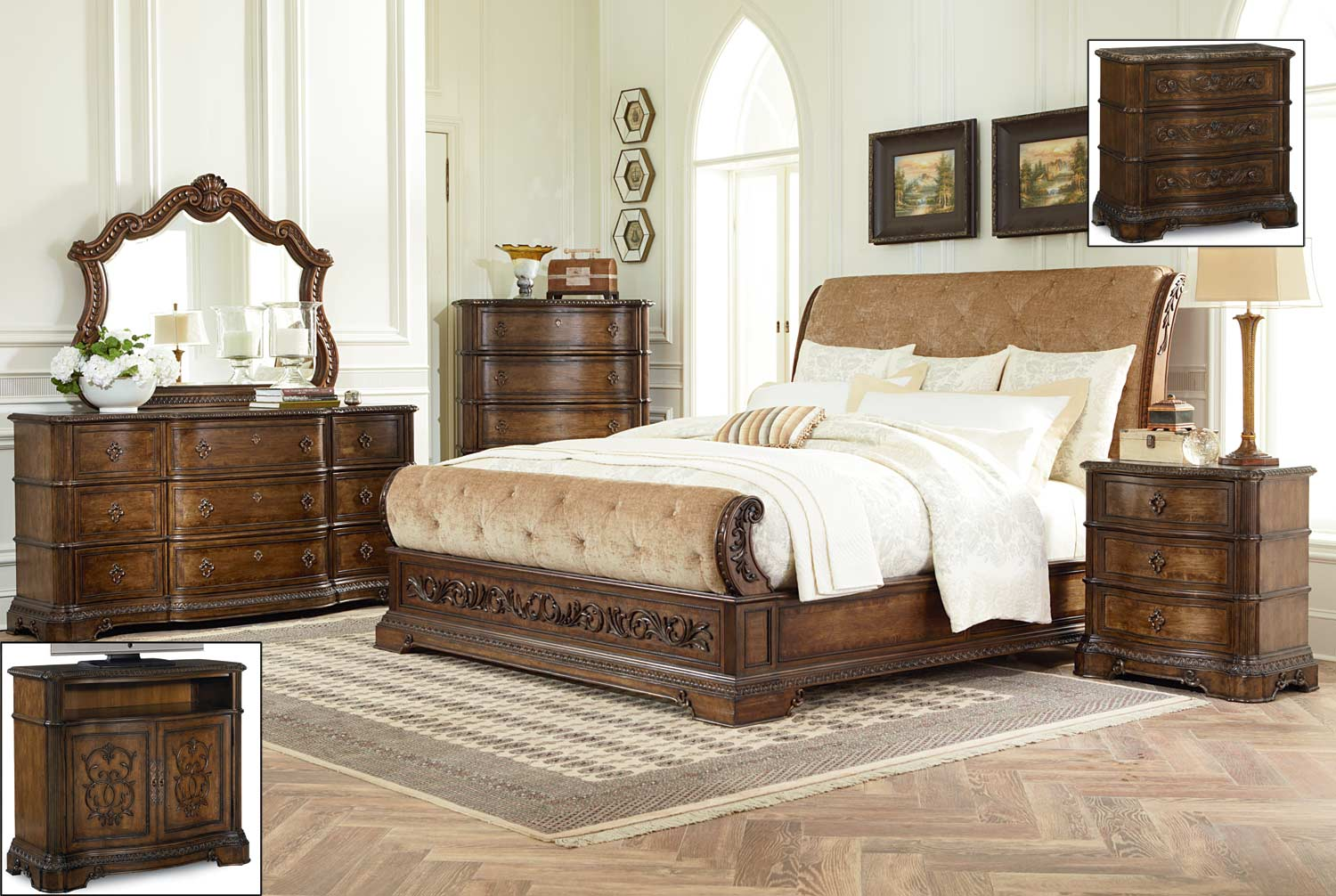 Legacy Classic Pemberleigh Upholstered Sleigh Bedroom Set - Brandy/Burnished Edges