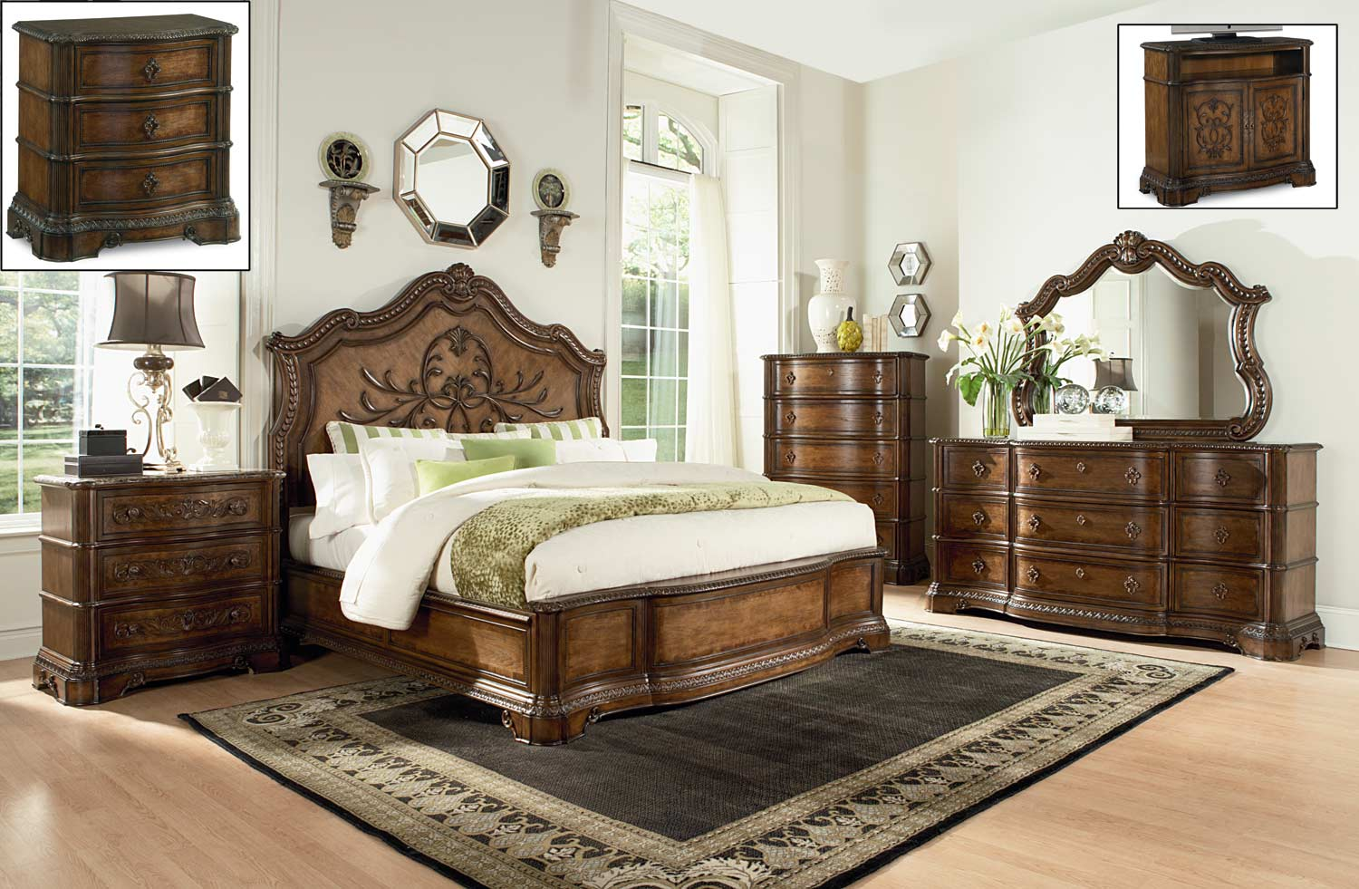 Legacy classic pemberleigh panel bedroom set brandy for Legacy classic bed