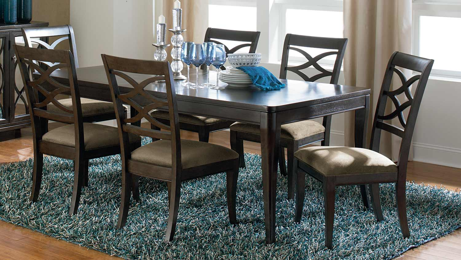 Legacy Classic Westerly Splat Upholstered Dining Set - Anthracite/Smokey Heather Accents