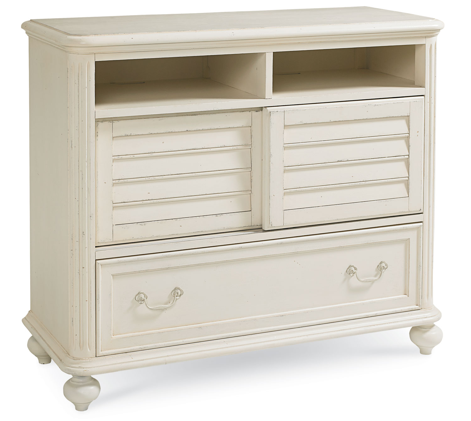 Legacy Classic Haven Media Chest - Buttercream White/Slight Distressing