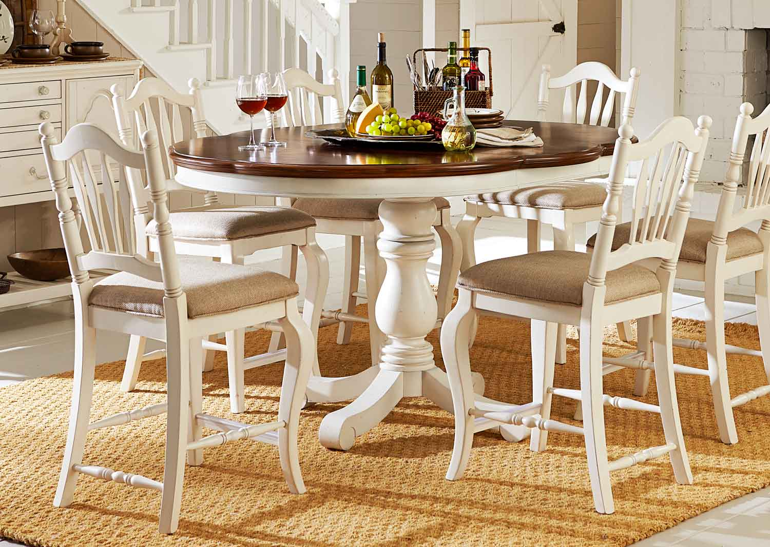 Legacy Classic Haven Pub Dining Set - Buttercream White/Slight Distressing