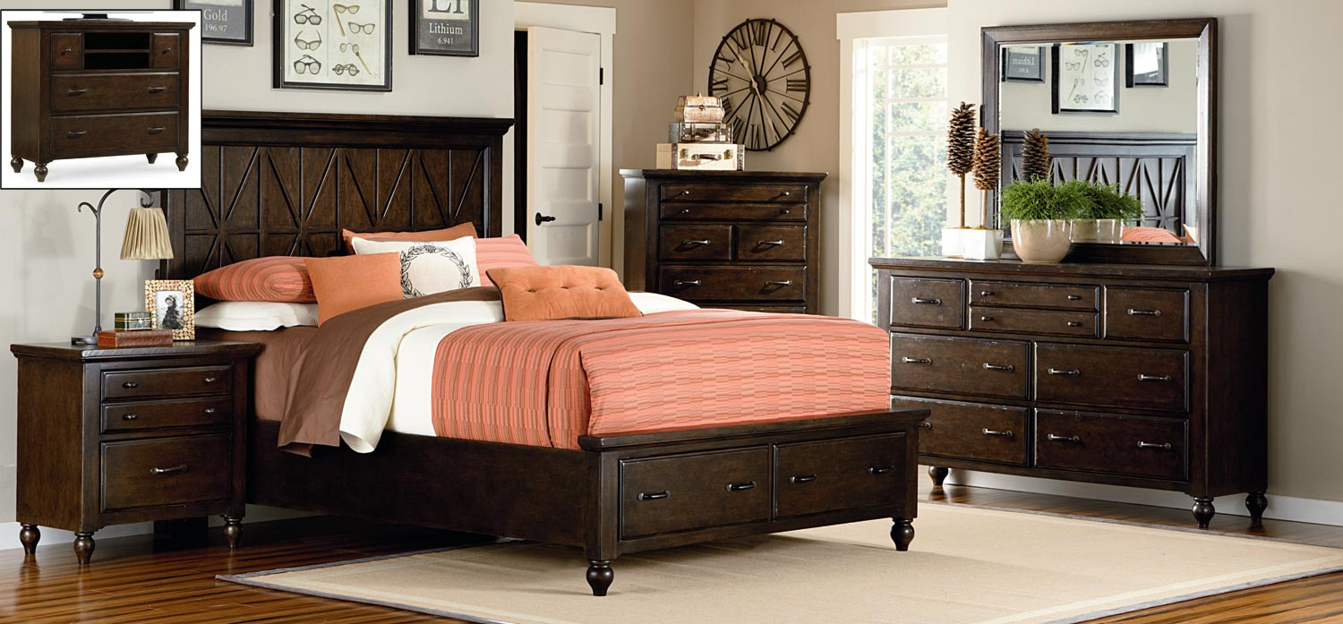 Legacy Classic Thatcher Panel Storage Bedroom Set - Amber