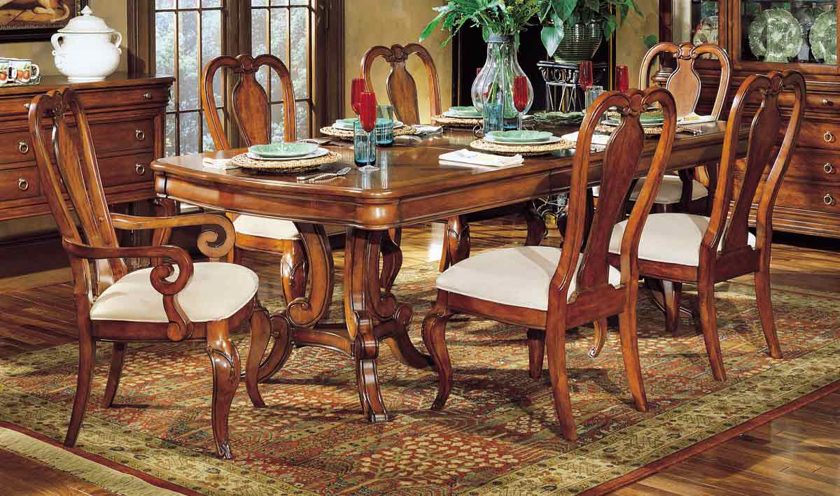 Legacy Classic Vintage Double Pedestal Extension Dining Collection with Queen Anne Chair