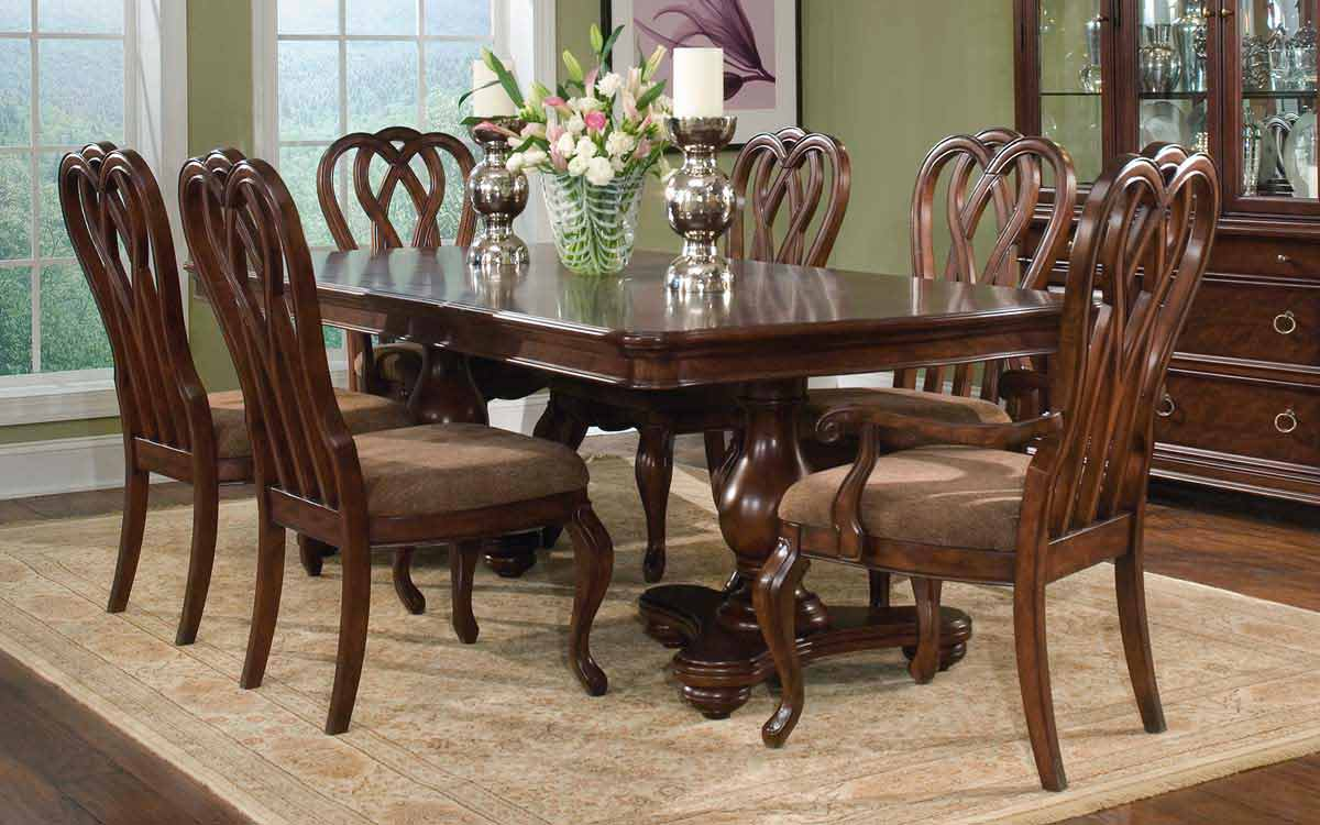 Legacy Classic Heritage Court Double Pedestal Dining Collection with Ribbon Back Chair