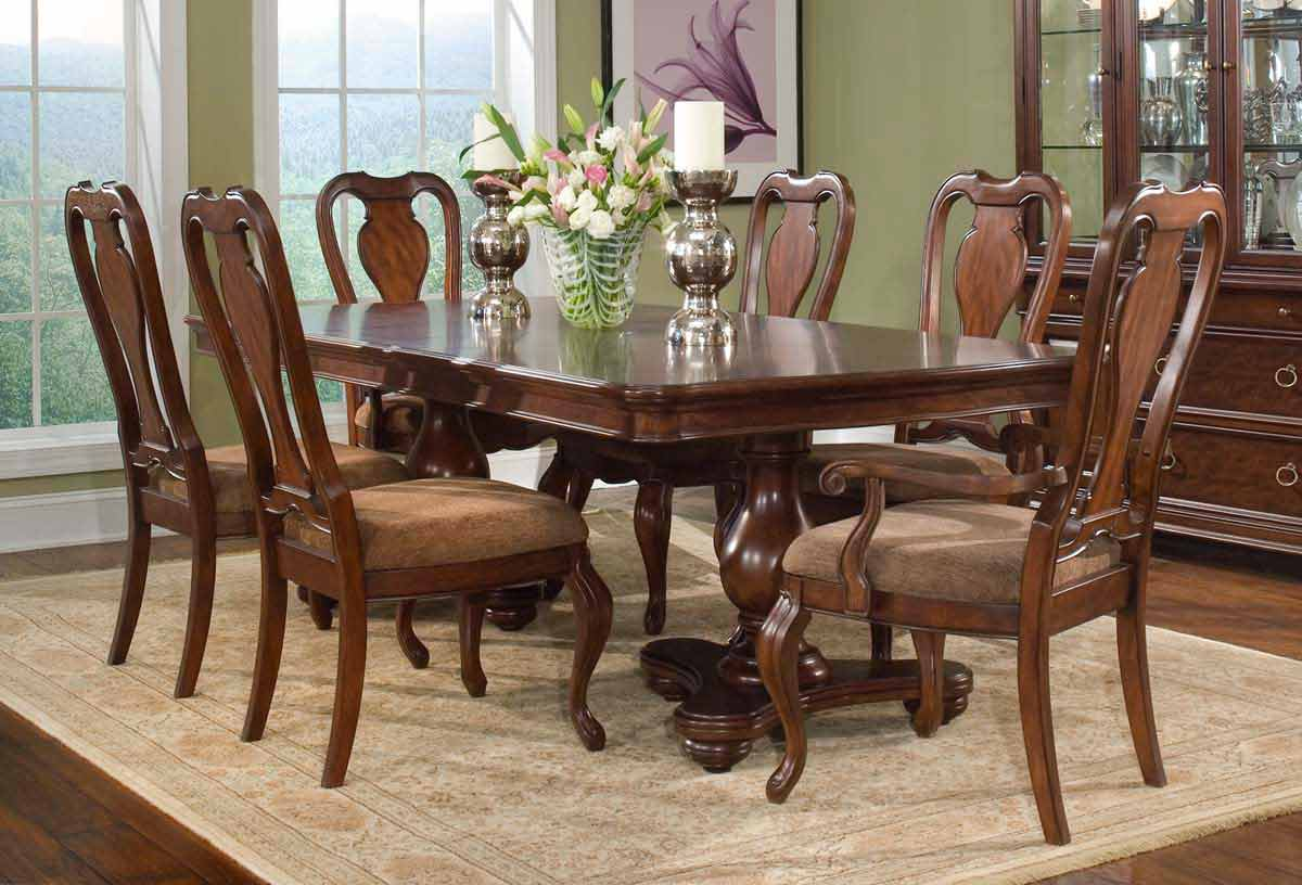 Legacy Classic Heritage Court Double Pedestal Dining Collection with Queen Anne Chair