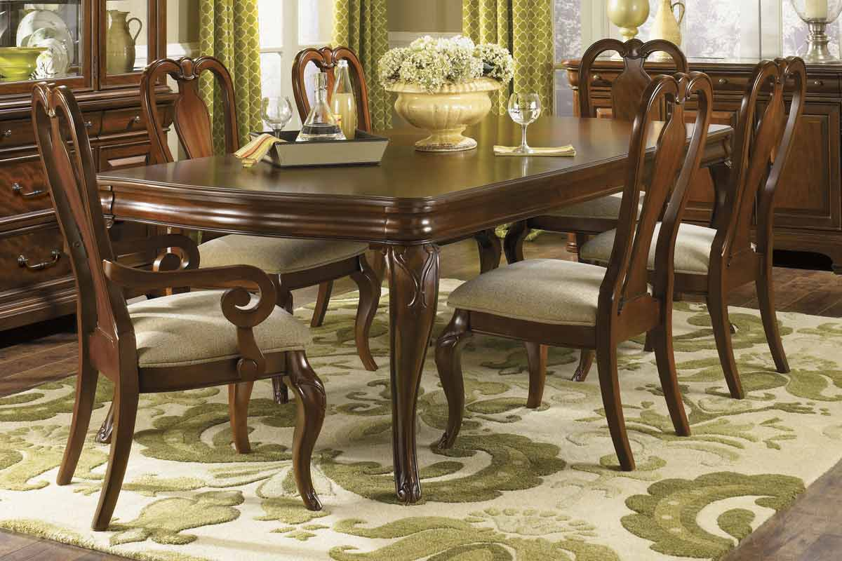 evolution rectangular leg dining collection with queen anne chair