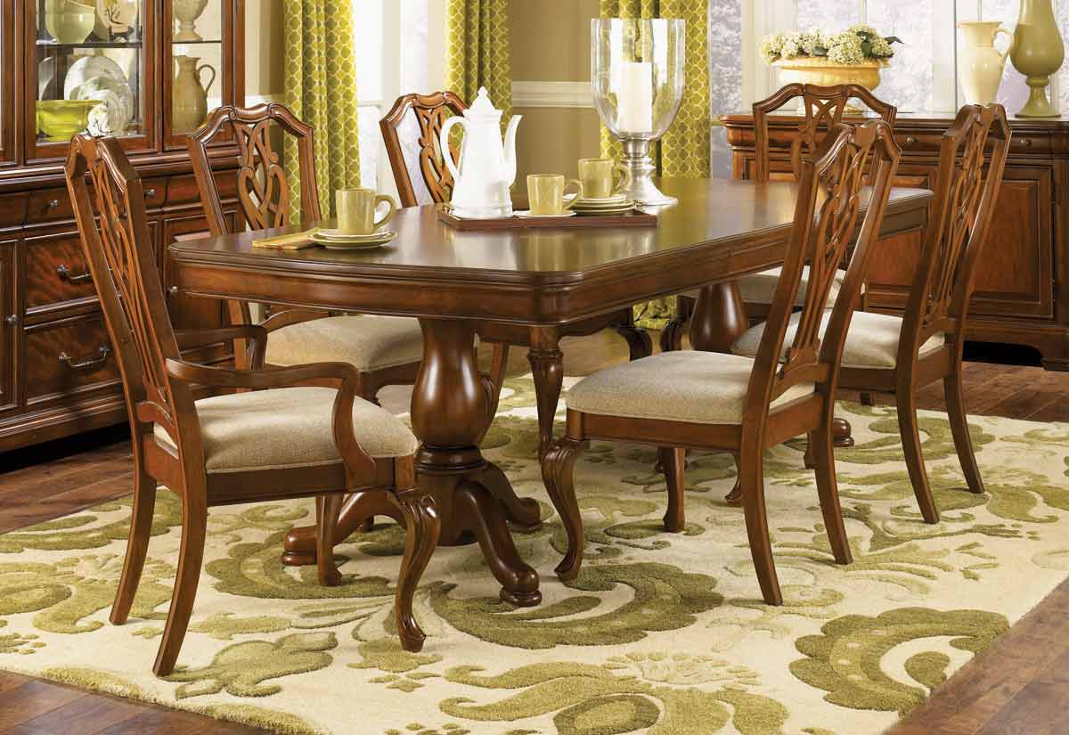 Legacy Classic Evolution Rectangular Double Pedestal Dining Collection with Pierced Splat Back Chair