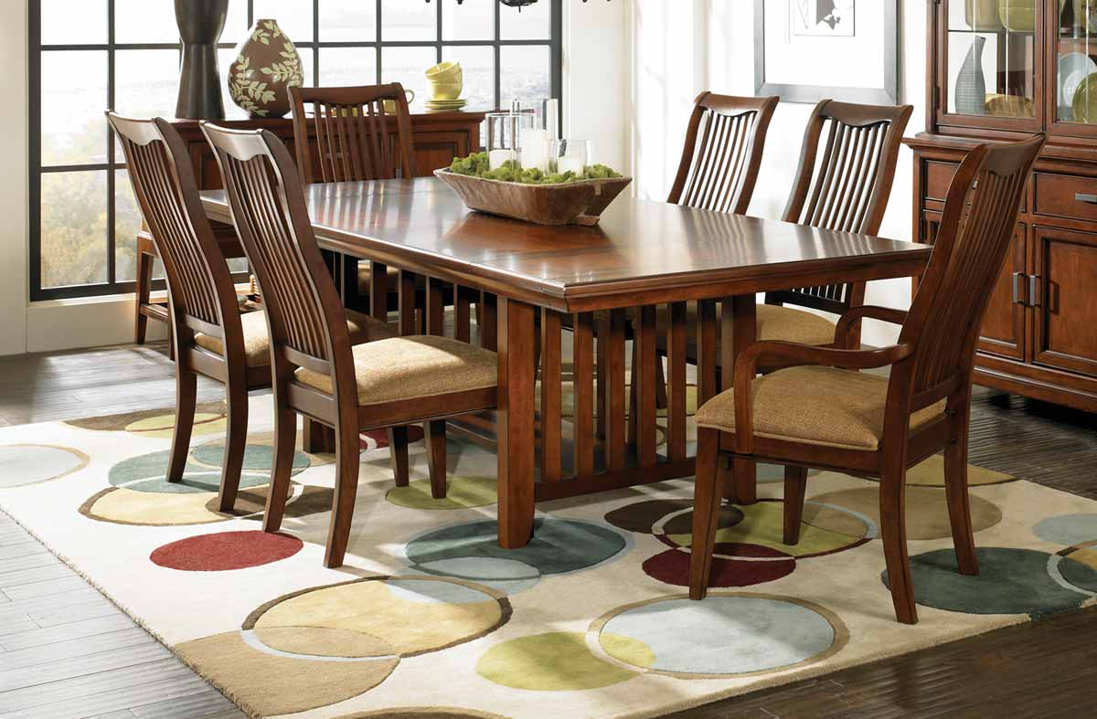 Legacy Classic Autumn Park Rectangular Trestle Dining Collection with Slat Back Chair