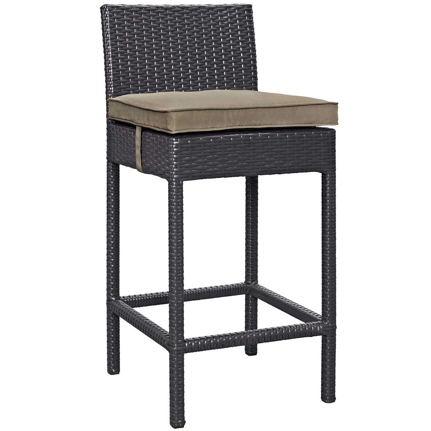 Modway Convene Outdoor Patio Fabric Bar Stool - Espresso Mocha