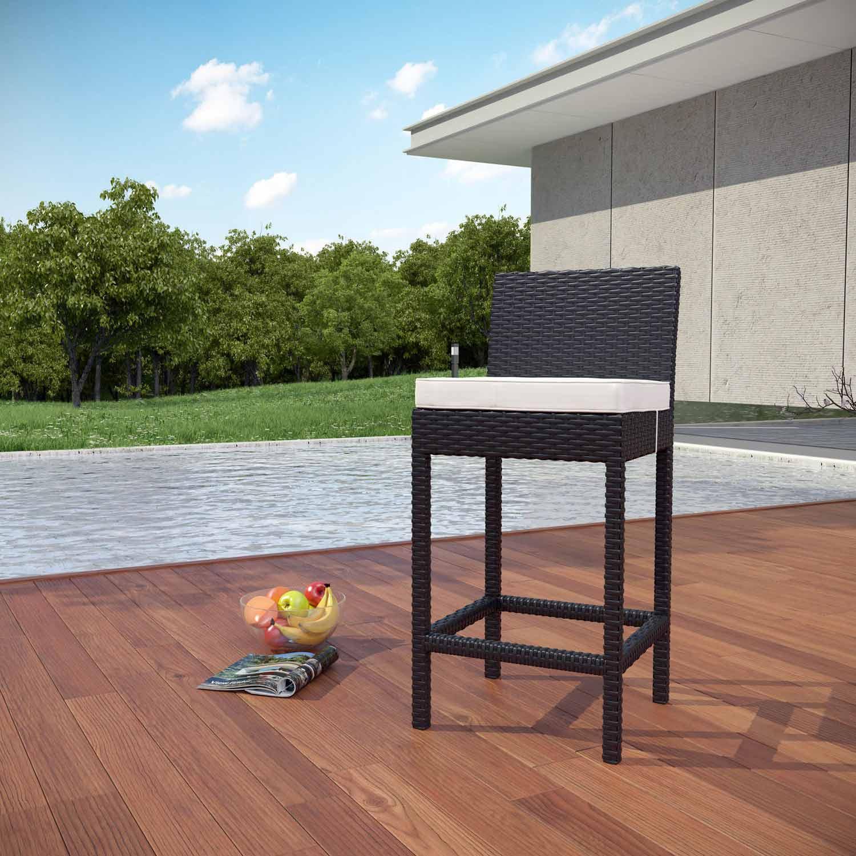 Modway Lift Outdoor Patio Bar Stool - Espresso/White