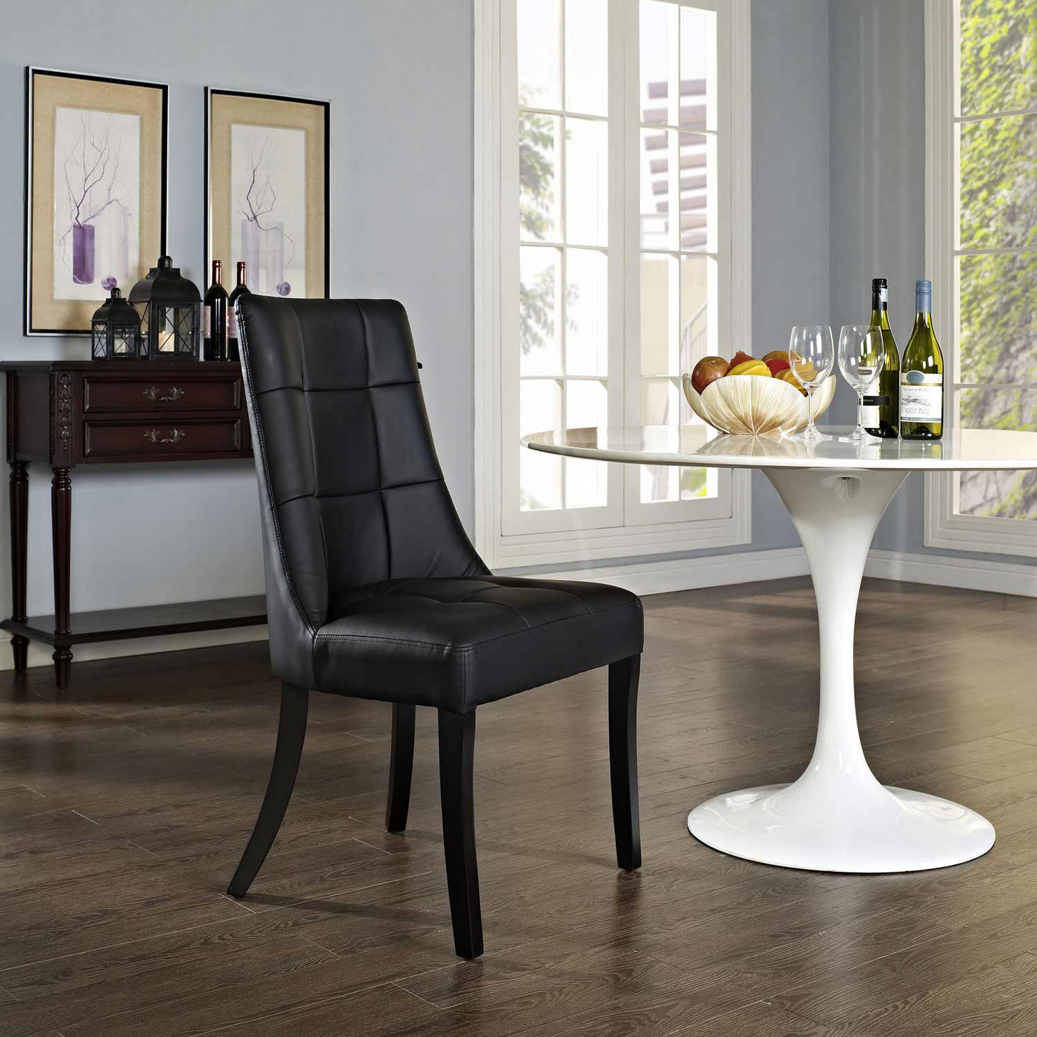 Modway Noblesse Dining Vinyl Side Chair - Black