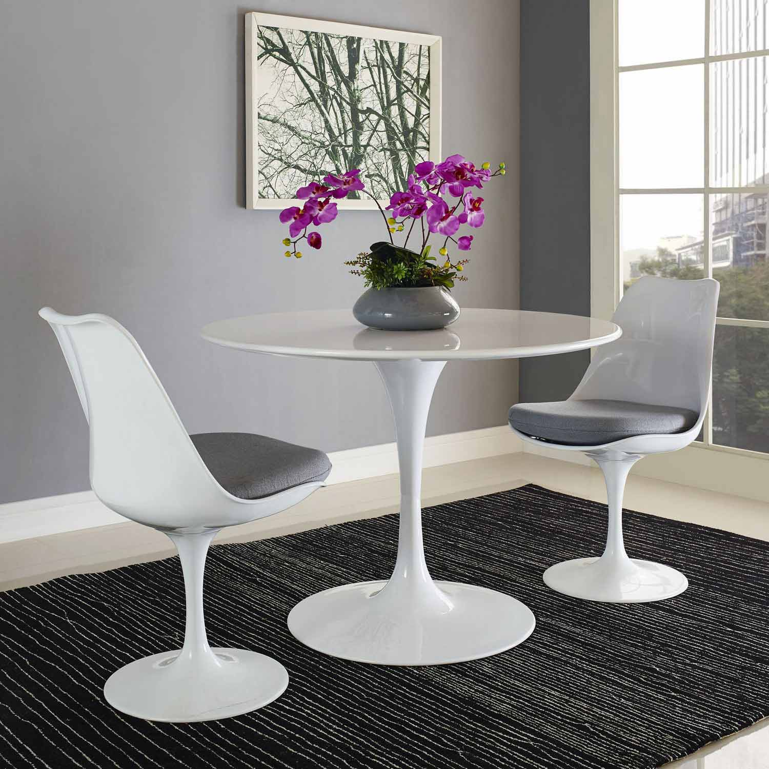 Modway Lippa 40 Wood Top Dining Table - White