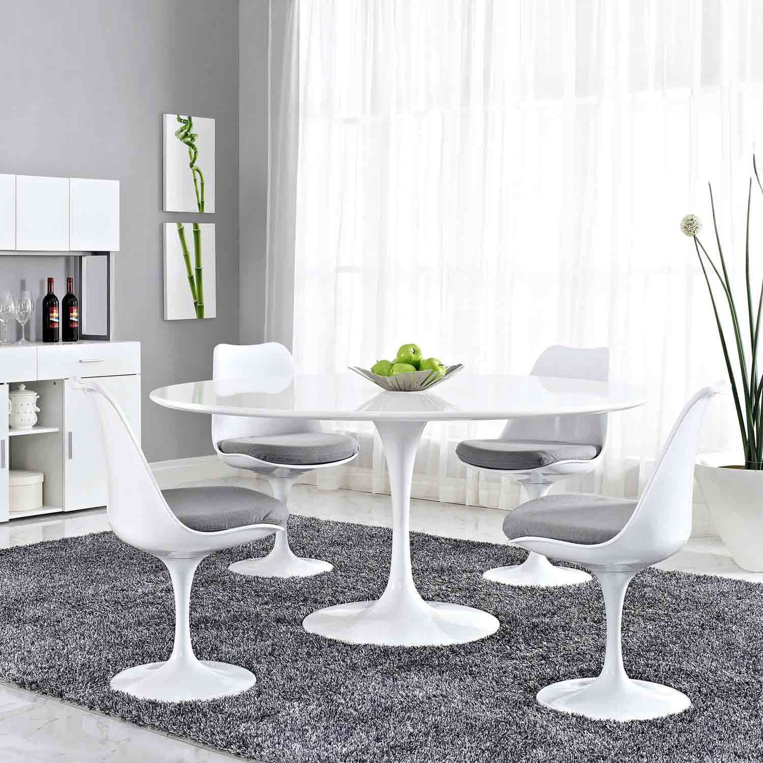 Modway Lippa 60 Wood Top Dining Table - White