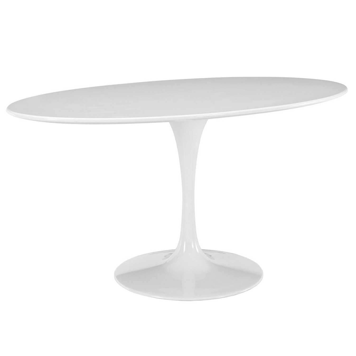 Modway Lippa 60 Oval-Shaped Wood Top Dining Table - White