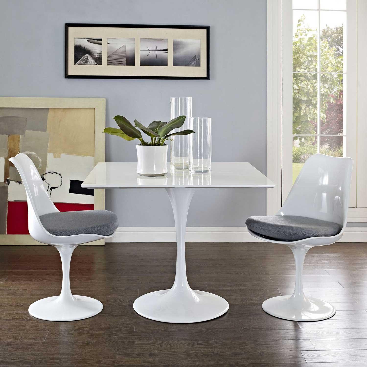 Modway Lippa 36 Square Wood Top Dining Table - White