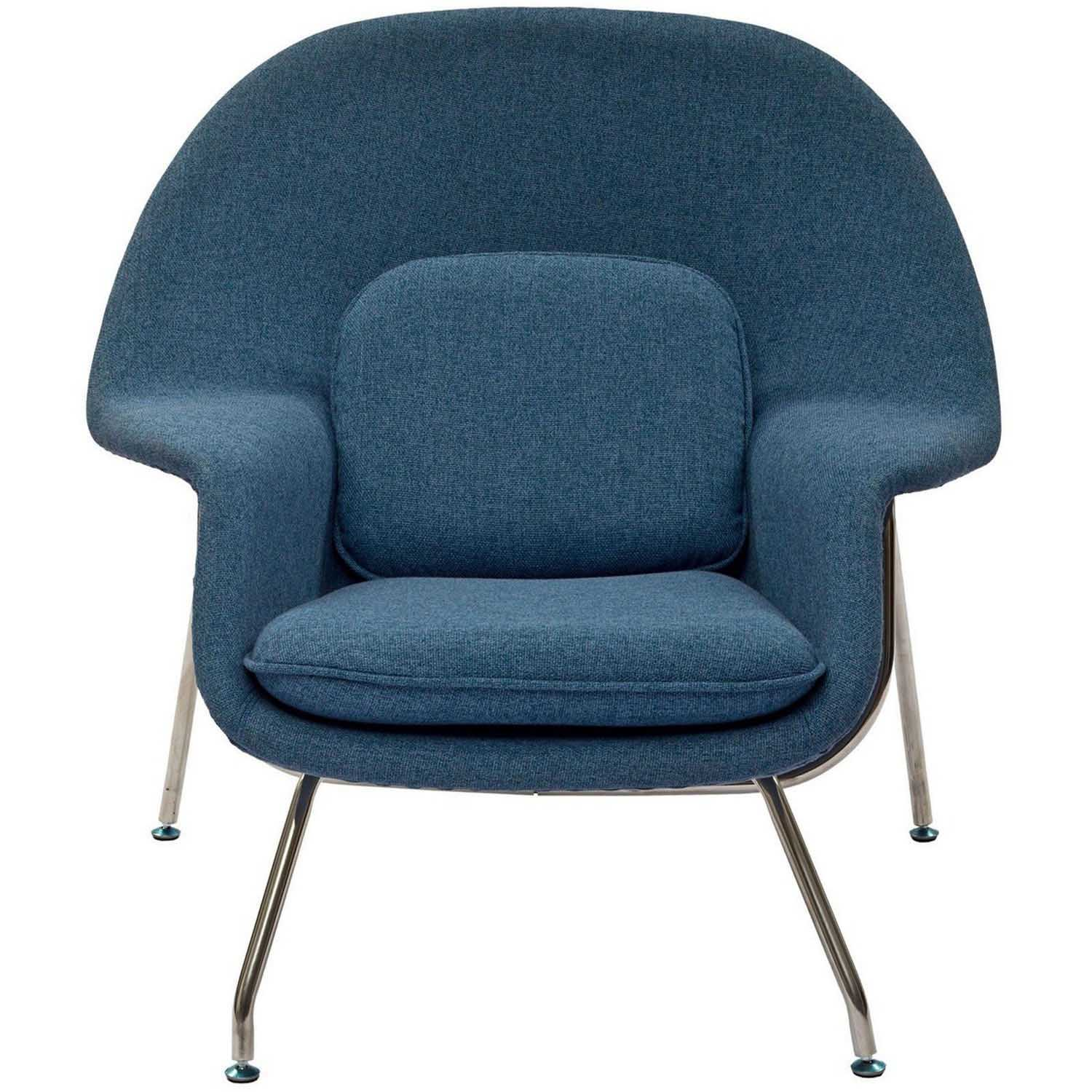 Modway W Fabric Lounge Chair - Blue Tweed