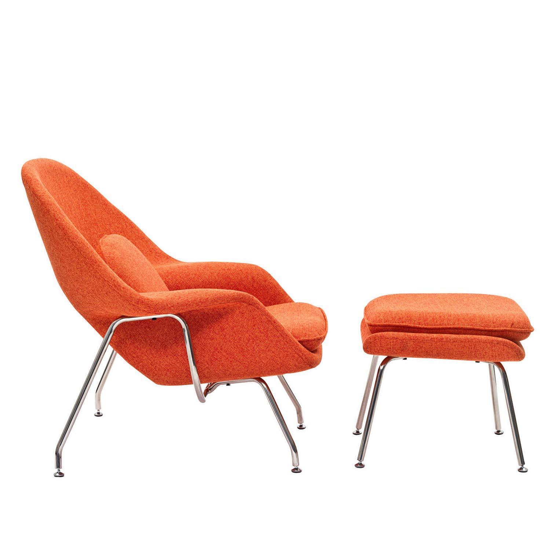 Modway W Fabric Lounge Chair Orange Tweed