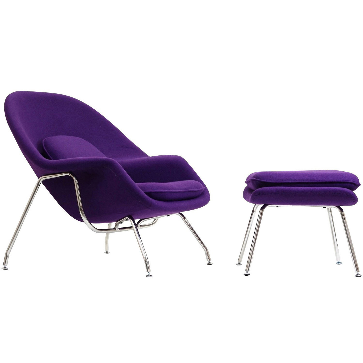 Modway W Fabric Lounge Chair - Purple