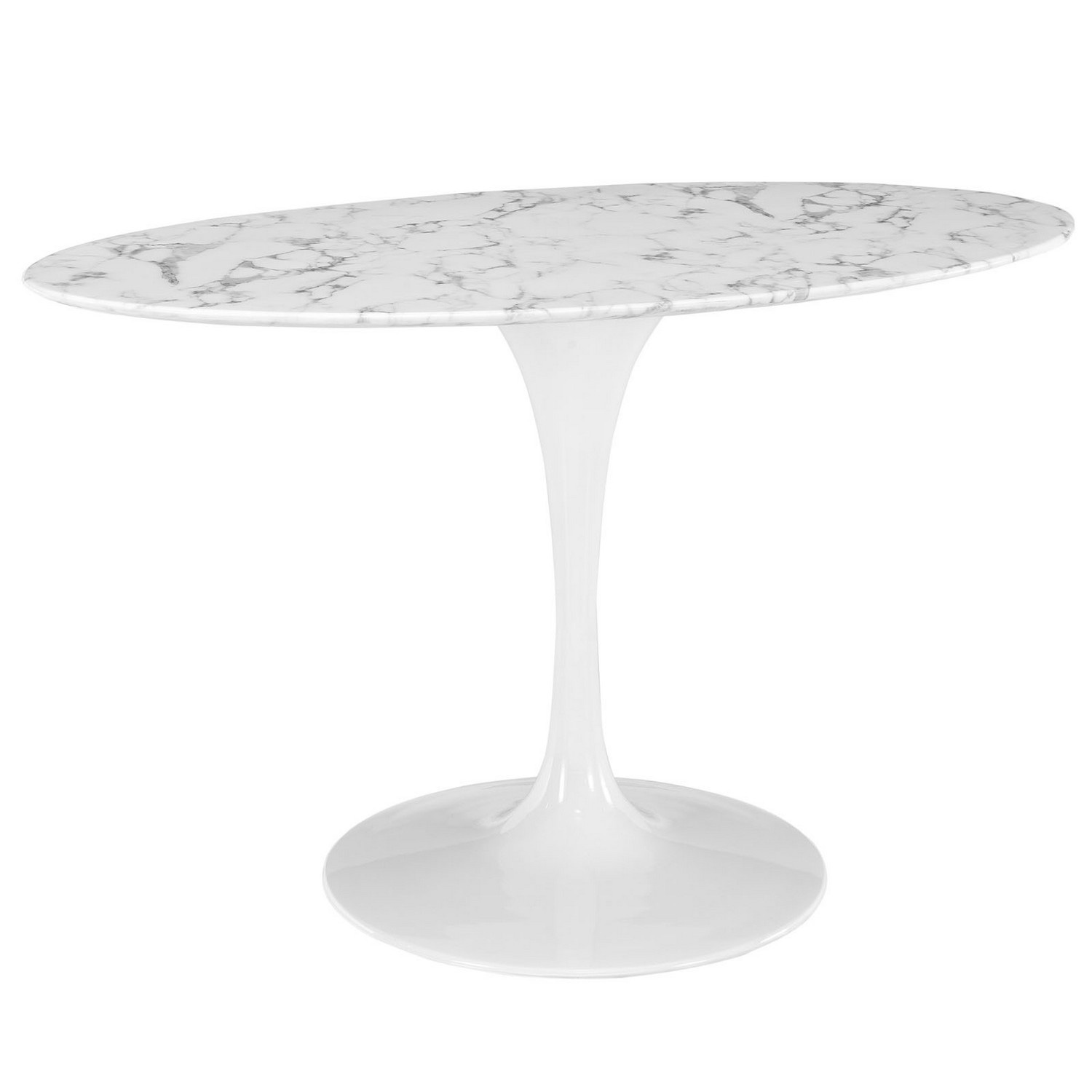 Modway Lippa 54 Oval-Shaped Artificial Marble Dining Table - White