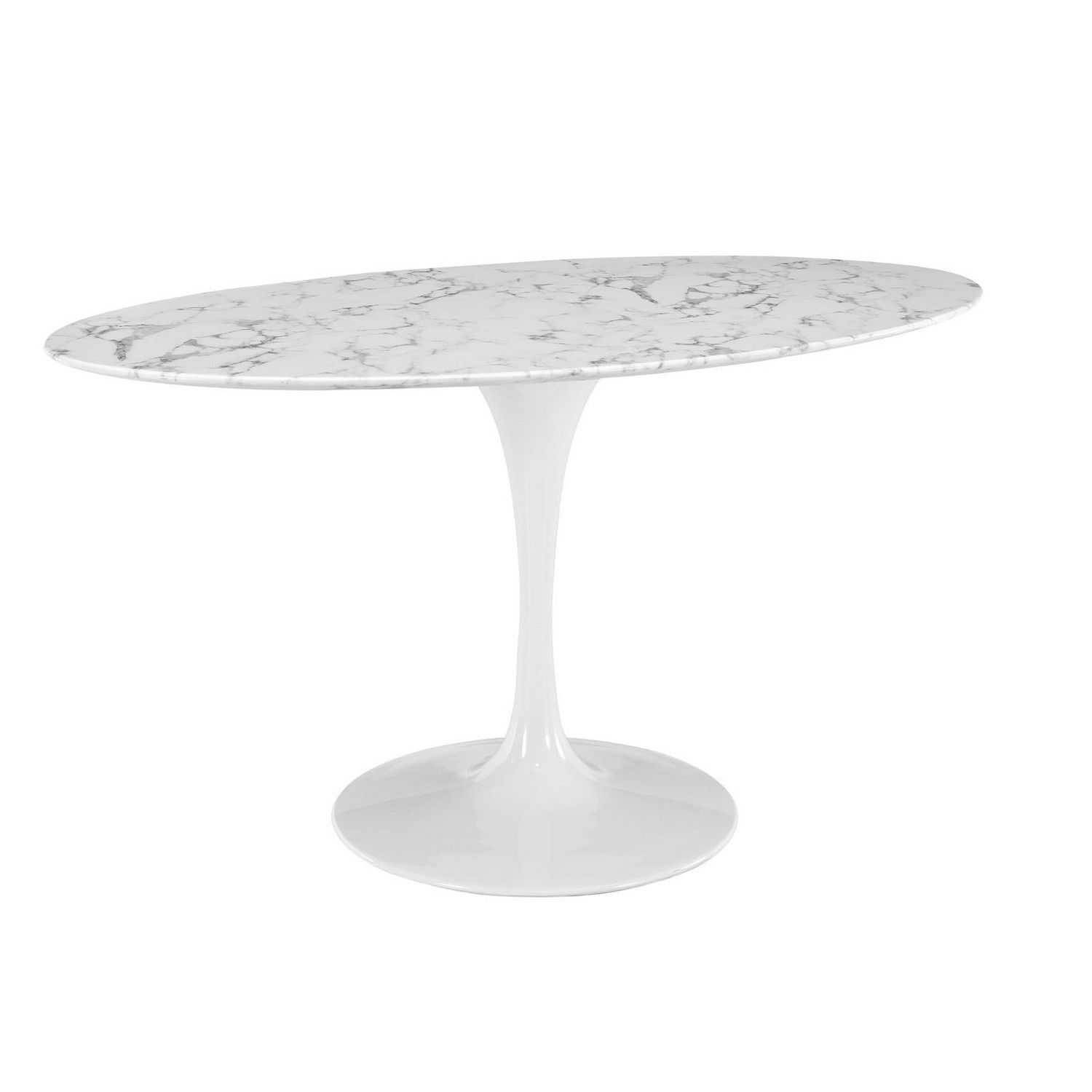 Modway Lippa 60 Oval-Shaped Artificial Marble Dining Table - White