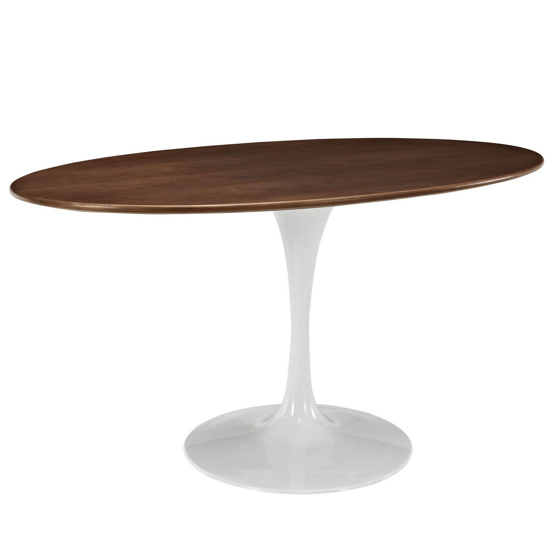 Modway Lippa 60 Oval-Shaped Walnut Dining Table - Walnut