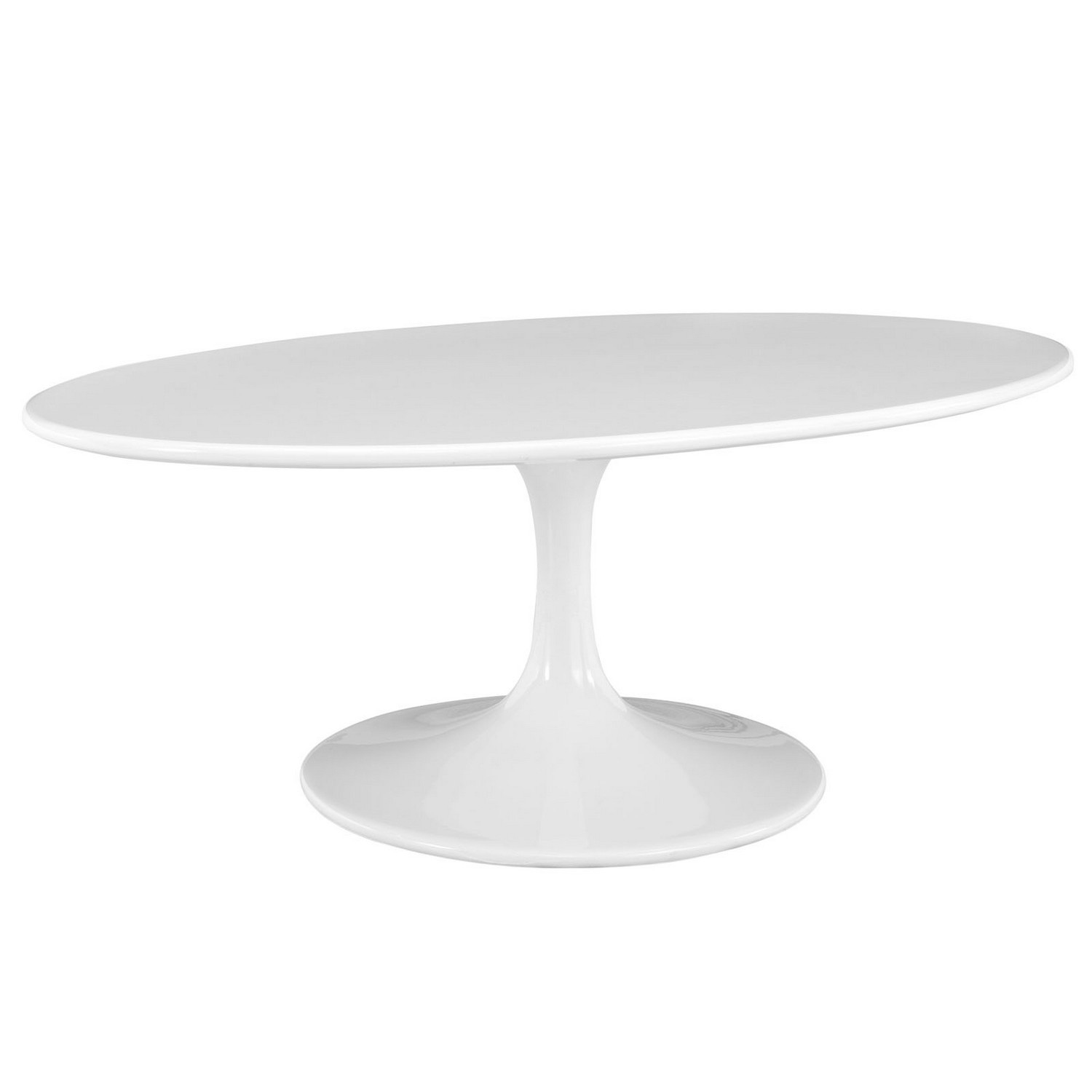 Modway Lippa 42 Oval-Shaped Wood Top Coffee Table - White