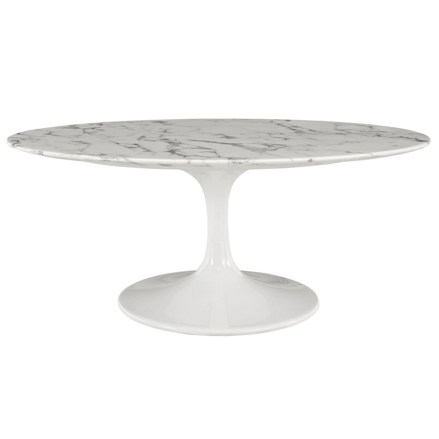 Modway Lippa 42 Oval-Shaped Artificial Marble Coffee Table - White