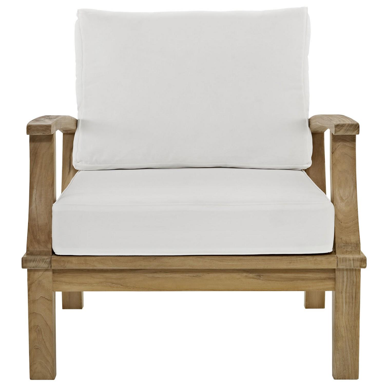 Modway Marina Outdoor Patio Teak Armchair - Natural White