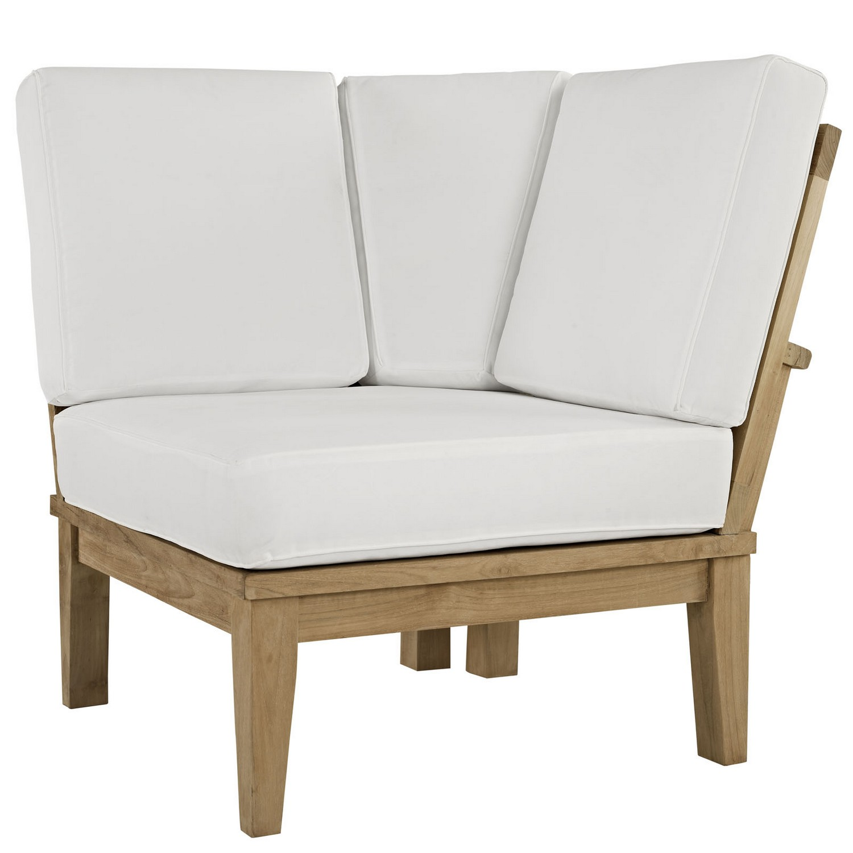 Modway Marina Outdoor Patio Teak Corner Sofa - Natural White