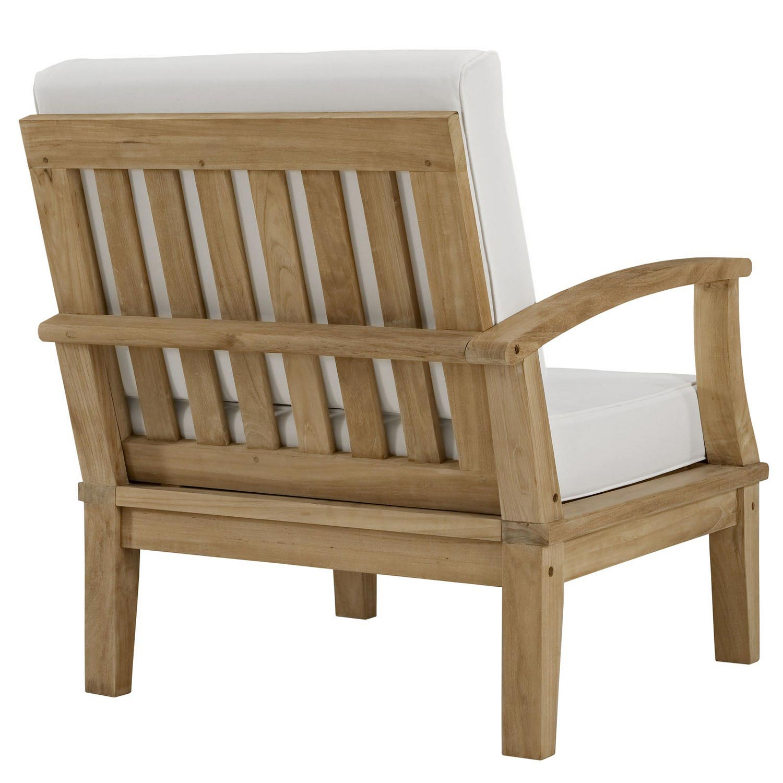 Modway Marina Outdoor Patio Teak Right-Arm Sofa - Natural White
