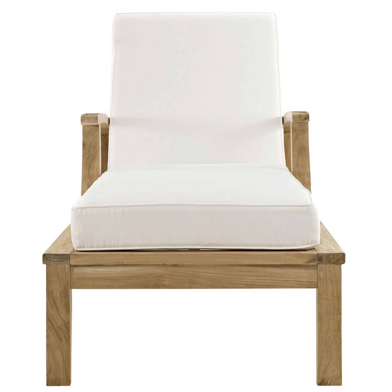 Modway Marina Outdoor Patio Teak Single Chaise - Natural White
