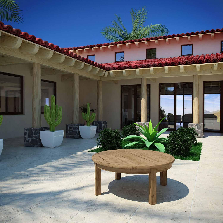 Modway Marina Outdoor Patio Teak Round Coffee Table - Natural