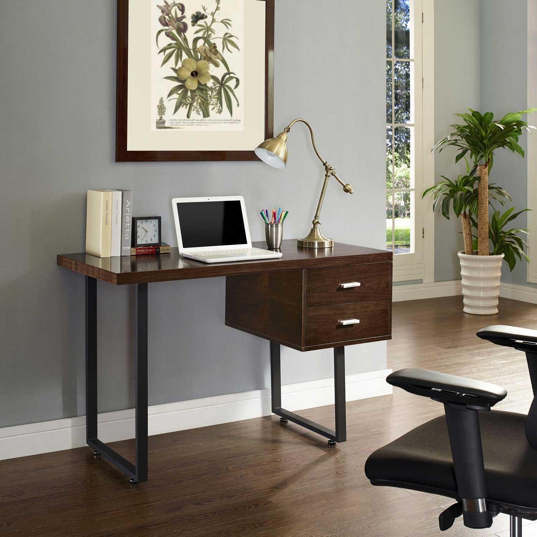 Modway Turn Office Desk - Walnut