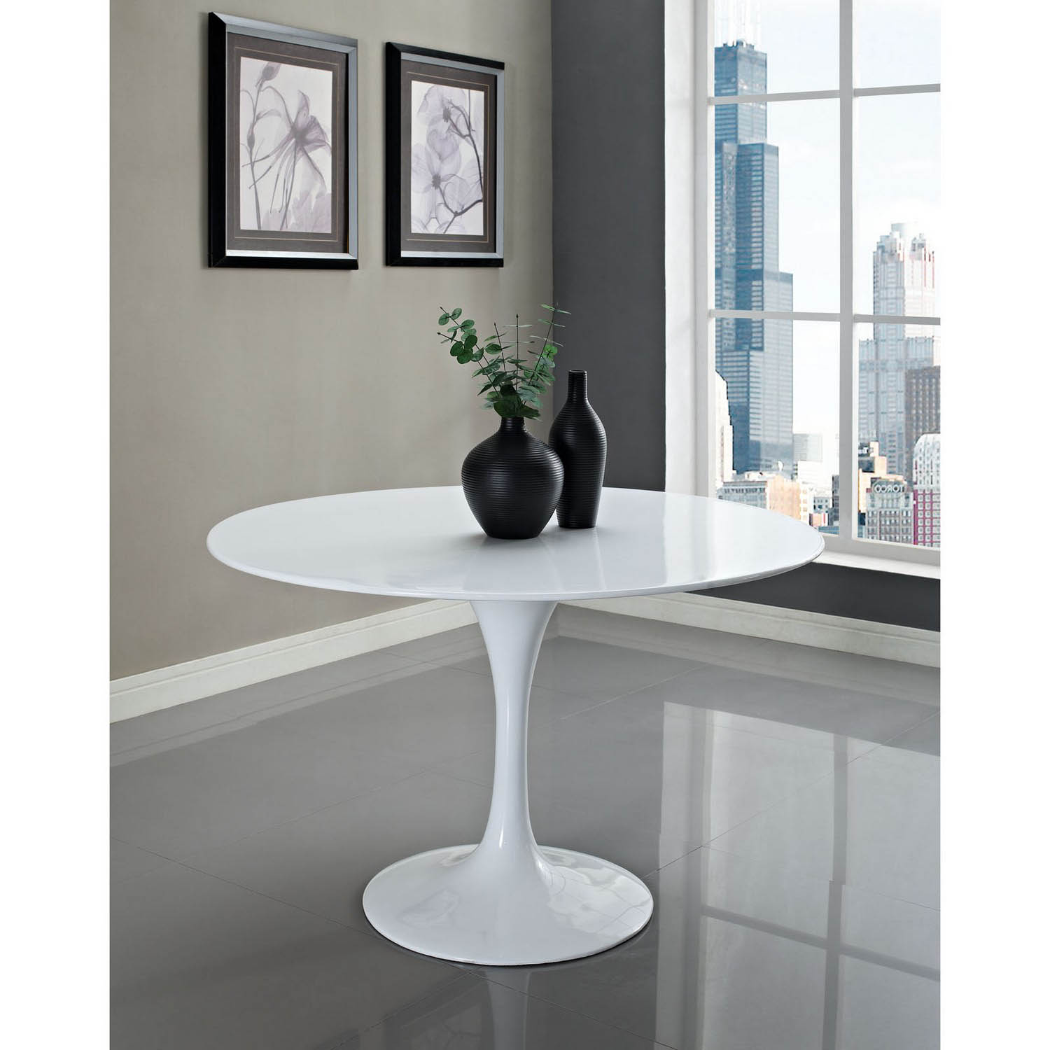 Modway Lippa 48 Fiberglass Dining Table - White