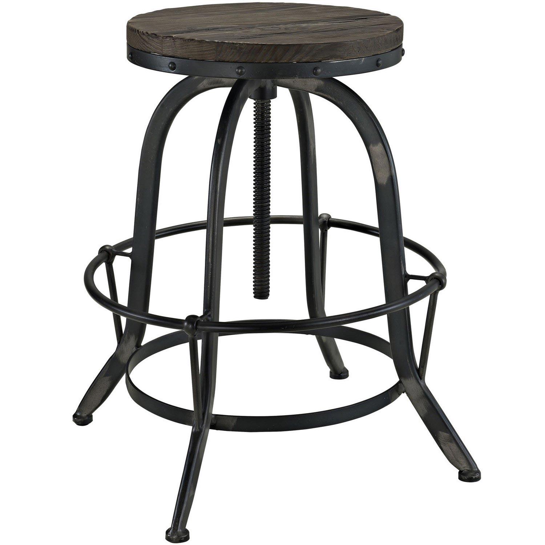 Modway Collect Wood Top Bar Stool - Black