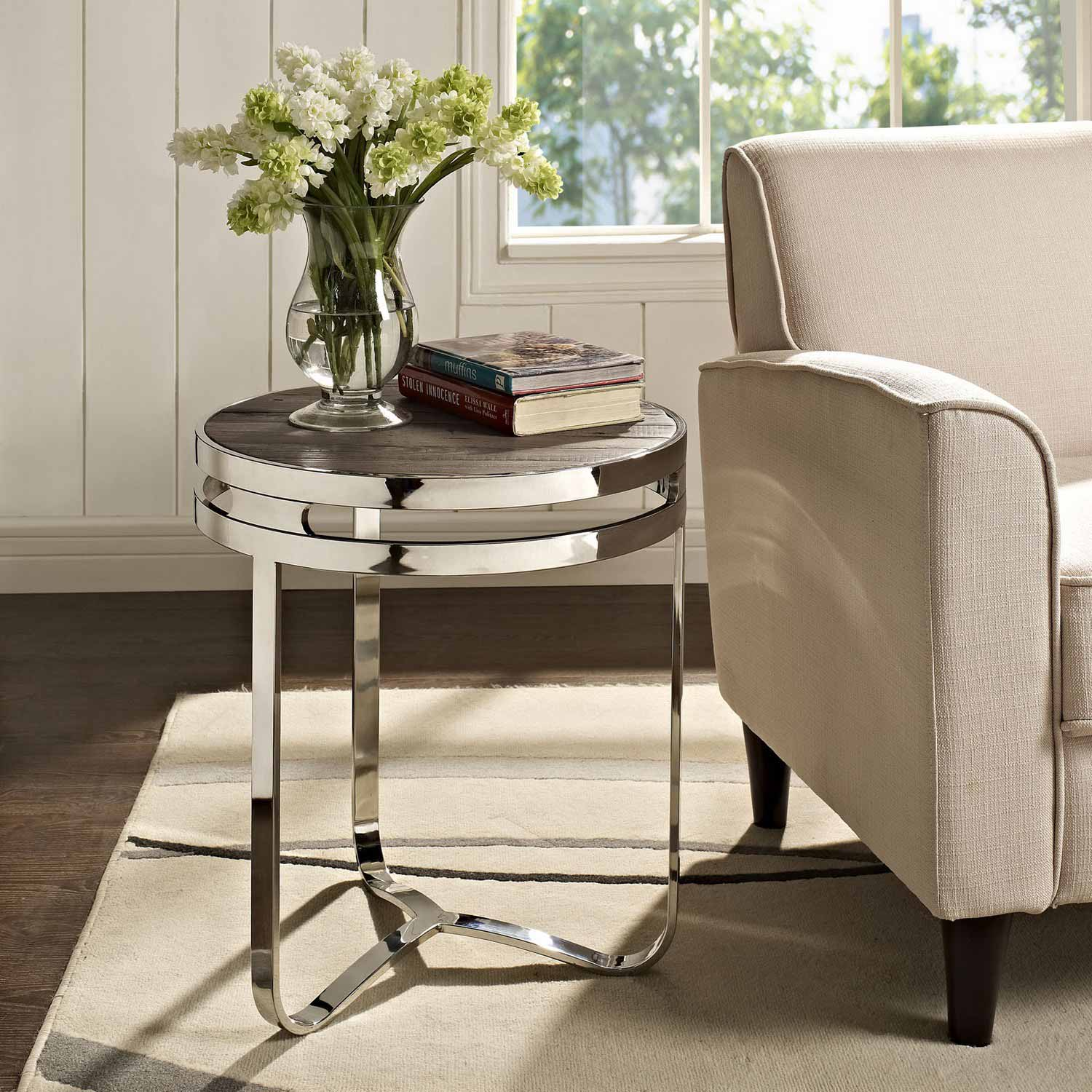 Modway Provision Wood Top Side Table - Brown