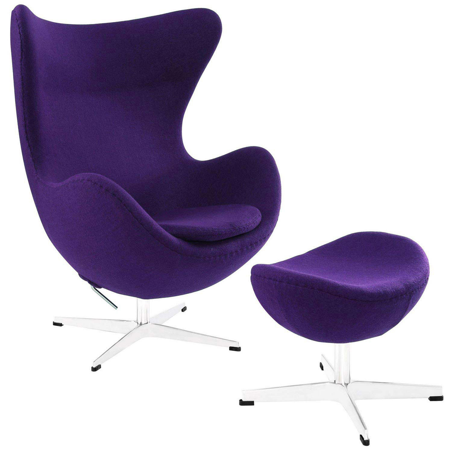 Modway Glove Wool Lounge Chair and Ottoman Set - Purple