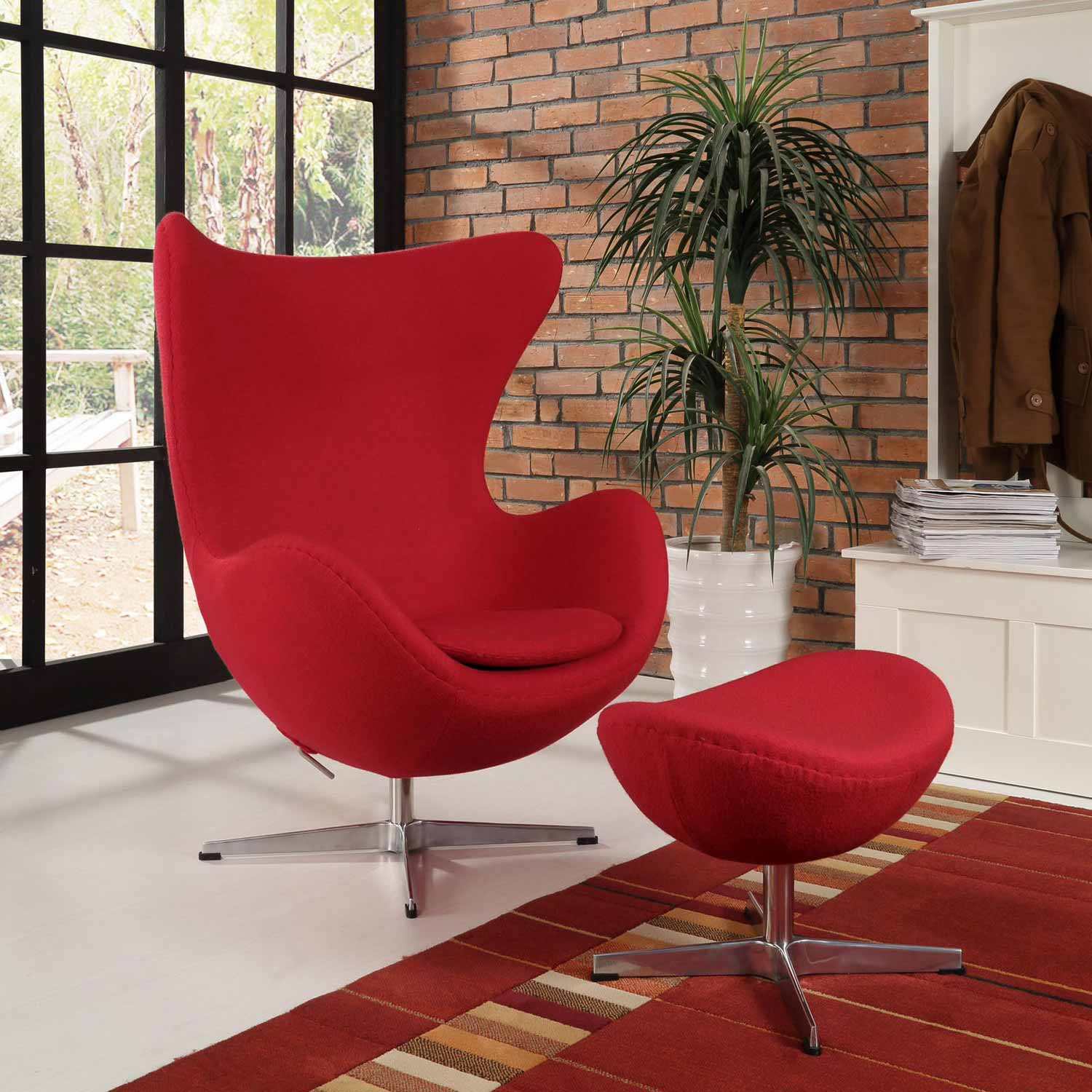 Modway Glove Wool Lounge Chair and Ottoman Set - Red
