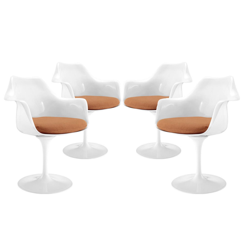 Modway Lippa Dining Armchair Set of 4 - Orange